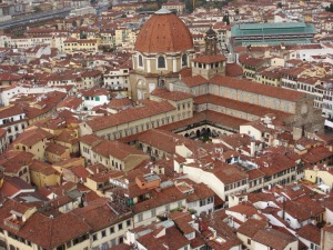 San Lorenzo from the campanile - large dome is the Medici Chapels