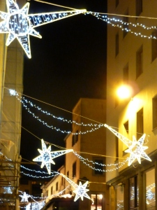 Decorations on the street leading to the Ponte Vecchio