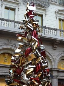 Christmas tree made from steel Fendi handbags