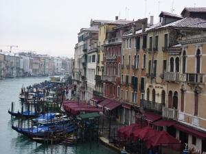 Snow in Venice - view from the Rialto Bridge