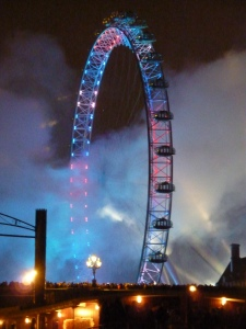 The London Eye, a giant Ferris wheel on the banks of the Thames