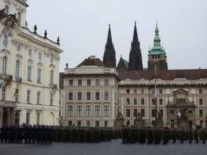 Military parade and ceremony outside Prague Castle
