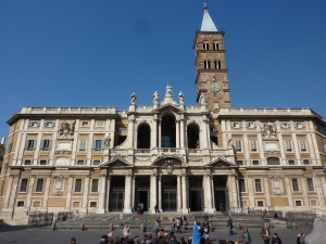 Front of the basilica. The bell tower is the tallest in Rome.
