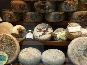 Pecorino cheese in a store window