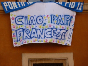 "School banner on Via della Concilazione saying, ""Hi, Pope Francesco!"""