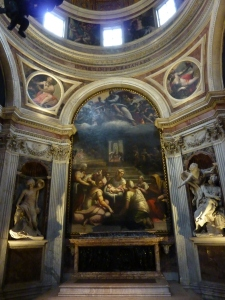 "Looking into the chapel - the altarpiece is the ""Birth of Venus,"" by Sebastiano del Piombo and Francesco Salviati"