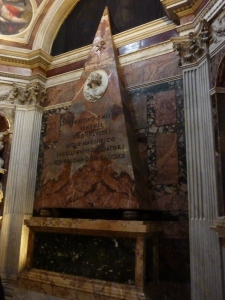 Agostino Chigi's pyramidal wall tomb, by Bernini (approximately 1655)