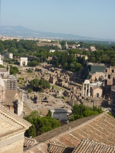 Looking east into the Forum from the Vittorio Emanuele II monument (next to Capitoline Hill)