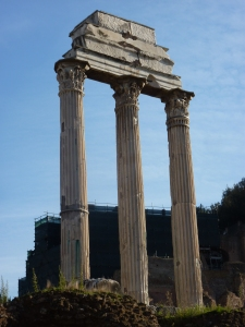 Tempio di Castore e Polluce (Castor and Pollux), twin brothers of Helen of Troy - original temple was dedicated in 484 BC, but these columns are from a reconstruction in 12 BC