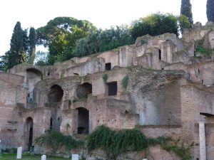 Looking toward Palatine Hill from the Casa delle Vestali