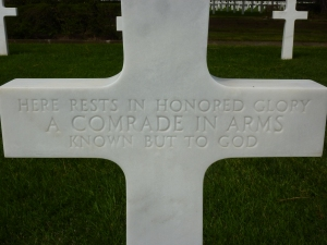 American cemetery - headstone of an unknown soldier