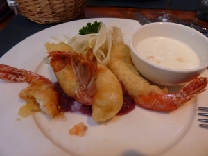 My favorite appetizer from Cybo - sort of a shrimp tempura with red onion cream and yogurt sauce