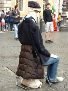 We have the normal living statues all over Rome - Statue of Liberty, mummies - but this is my favorite (and it's a woman!)