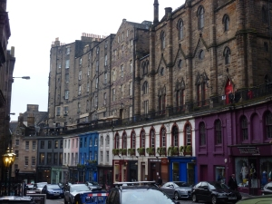 Grassmarket - Maison Bleue is the blue three-story building to the left