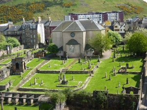 The back of Canongate Kirk from Calton Hill