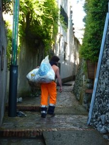 The streets in Ravello are so hilly and narrow that trucks don't fit. Trash has to be collected by hand! Oh, my aching back!!!