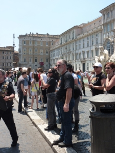 Bikers and their babes in Piazza Navona