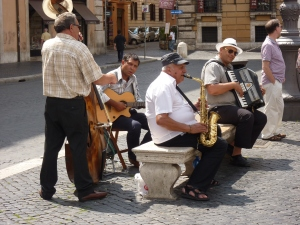 My favorite musicians play every morning at Piazza Navona. This is the only group to whom I give money. They're wonderful!