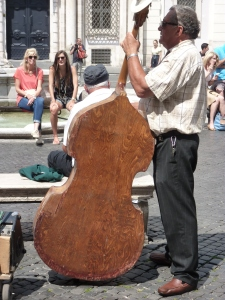 I love this old cello that the musician in the jazz group plays.