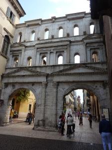 "Porta Borsari, the main entrance to Verona in Roman times. The gate was a toll booth (""borsa"" means purse)."