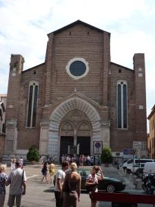 Sant'Anastasia - façade - so plain, although the entrance is beautiful