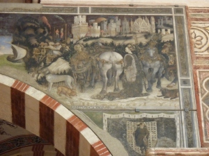 Sant'Anastasia - St. George and the Princess (Pisanello) near the ceiling above the Pellegrini Chapel - one of the most famous frescoes in the church