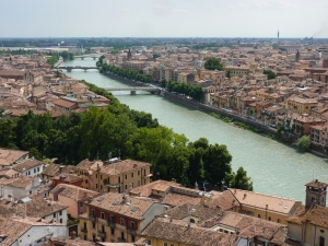 View of Verona (right) and Veronetta (left) from the hill on the east side of the Adige