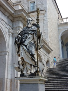 This statue of St. Benedict, dated 1736, was almost untouched in the war.