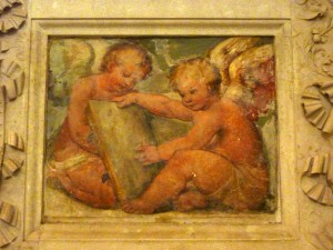 This 16th-century fresco of angels was not destroyed during the war.