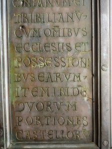 Bronze doors to the basilica - made in 1066 in Constantinople; the inscriptions have great historical value and list the possessions and churches depending on Montecassino in the 11th and 12th century.