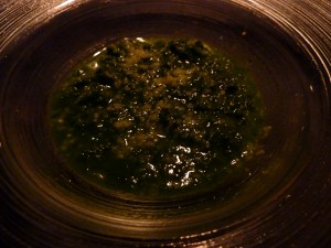 "This was called ""fake seabean risotto"" with chard and parmesan."