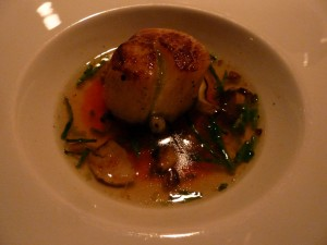 Scallop, yams, prosciutto broth, and flying fish roe.