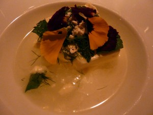 For dessert this yogurt semifreddo with verbena oil and dill was sensational!