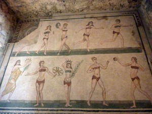 The most famous floor in the villa. The woman on the bottom left is about to crown another winner. Apparently this costume was commonly worn for gymnastics. I think these babes are cute!
