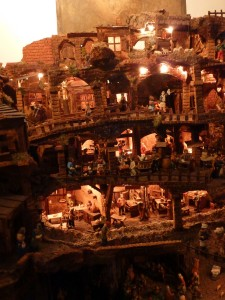 Five-level presepio at Parrochia Santa Dorotea in Trastevere. The manger is on the bottom level.