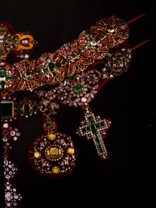 Exhibit brochure cover with the Necklace of San Gennaro (Napoleon's emerald-studded cross is hanging from the lower right side)