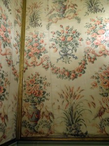 Close-up of the fabric on the walls of the ballroom