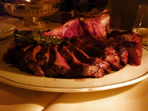 At the restaurant, Bistecca alla Fiorentina