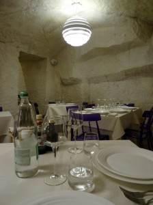Ristorante Francesca - everything was white except for the fabulous purple chairs! Loved them!