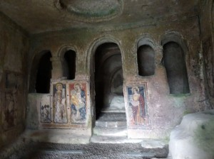 Chiesa Santa Barbara - cave church from the 11th century; frescoes are more recent