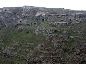Caves in the hill across the Gravina from Matera