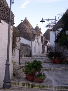 Typical street in Alberobello - I like the streetlights.