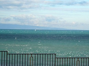 The sea at Trani - the spur of the Italian boot, the Gargano Peninsula, is in the distance.