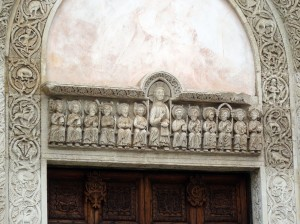 Carving over the door of Chiesa Santa Caterina d'Alessandria in Galatina