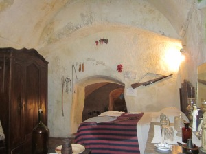 Casa Grotta del Casalnuovo - the animals were housed downstairs through the door behind the bed (photo by K McKenna)