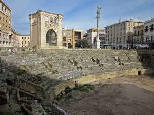Remains of a Roman amphitheater (2nd century) on the main square (photo by K. McKenna)